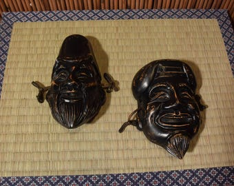 Vintage Japanese Small Wood Carved Ebisu and Daikoku Wall Hanging Masks
