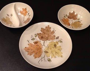 "Vintage Metlox Poppytrail Platter <> Woodland Gold Pattern <> 13 1/8"" Round <> PLUS 2 Lg. 9"" Serving Bowls <> EXCELLENT CONDITION <> 1959"