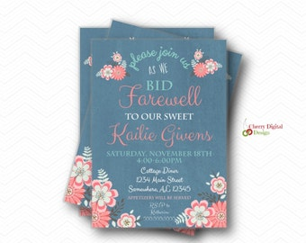 floral farewell printed or printable party invitations goodbye party invitation going away party invites - Goodbye Party Invitation