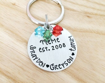 Mom est, Keychain, Personalized gift for mom, mothers day gift for mom, Mom Since, Hand Stamped Grandma Mom Mimi Memaw, Mom Jewelry