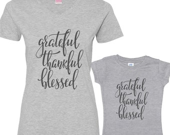 Grateful, Thankful and Blessed Mommy and Me Shirts Set Heather Shirt/Charcoal Font