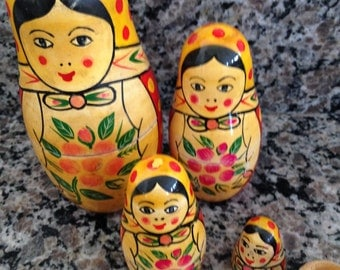 Matryoshka Nesting Identical Five Wooden Dolls