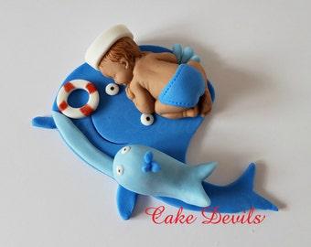Whale Baby Shower Fondant Sleeping Baby Cake Topper, Nautical baby shower Cake Decoration, Whale, Sailor baby cake, Baptism, Handmade Edible