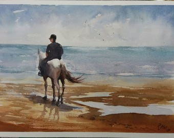 Ride to the shore  -  original Watercolour painting