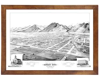 Logan City, UT 1875 Bird's Eye View; 24x36 Print from a Vintage Lithograph