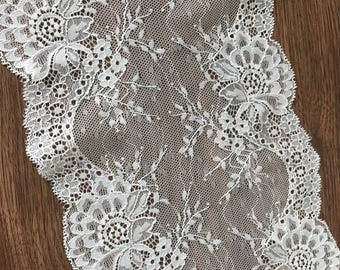 Off White Lace Trim By The Yard, Lingerie Lace, Embroidery Lace, Scalloped Stretch Lace Trim Vintage Style