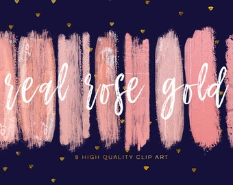 Blush pink brush strokes, rose gold DIY invitation, social media banner clip art, blog clip art, Instant Download, Photography clip art,
