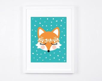 Fox Art Illustration, Printable Art for Girls Nursery, Turquoise Little Girls Room Decor, Modern Nursery Decor, Floral Wreath, Foxes