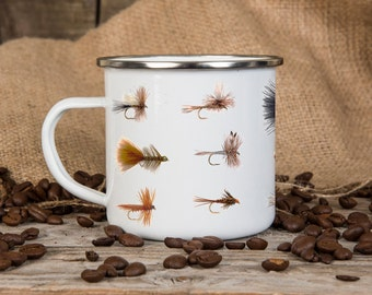 Fishing Themed Enamel Mug with trout flies, Birthday Gift, Camping, Outdoor, Father's Day Gift, Coffee Mug, Camping Equipment,
