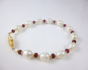 Ruby and Pearl Bracelet, Beaded Bracelet,  Ruby Bracelet, Freshwater Pearl Bracelet
