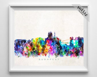 Budapest Skyline Print, Hungary Poster, Watercolor Painting, Wall Decor, Hungarian Art, Cityscape, City Painting, Christmas Gift