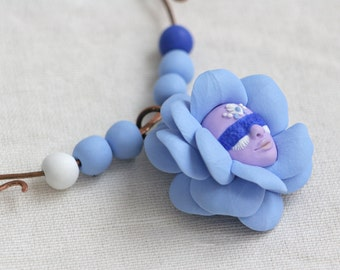 Blue Necklace, Fairy Flower Necklace, Face Necklace, Magic Jewelry,  Artisan Jewelry,  Miracles, Wonder, Fairy Tale, Faerie