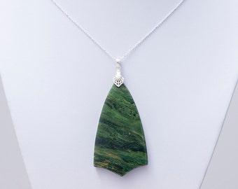 Green Jasper Necklace ~ Green Stone Pendant Necklace ~ Silver Jasper Pendant Necklace ~ Jasper on Silver Chain ~ Snakeskin Jasper Necklace