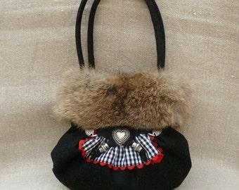 Dirndl bag, Bavarian style, loden, pure wool, rabbit fur, dirndl hooks, octoberfest, Bavaria
