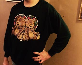 Vintage Bear Sweatshirt / Hideous Vintage 1980s Black Teddy Bear Sweatshirt / 80s Black Sweatshirt / Vintage Teddy Bear Shirt