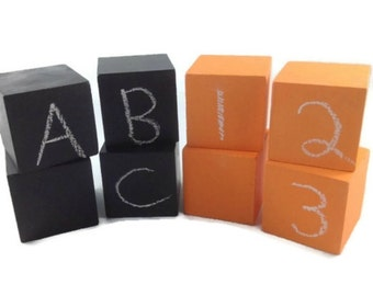 Chalkboard Blocks, Four Orange Blocks and Four Black Blocks, Wooden Toy for Boys or Girls, Open Ended Toy for Children in Halloween Colours