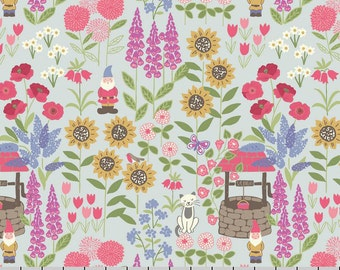 Summer Flower Fabric, Lewis and Irene Fabric, Grandma's Garden A195 1 Blue, Gnomes, Sunflowers, Wishing Well, Floral Quilt Fabric, Cotton