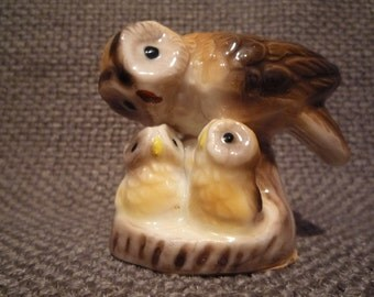 Vintage Porcelain Owl Family               Mother and Babies