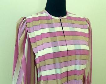 1980's Pink Striped Dress