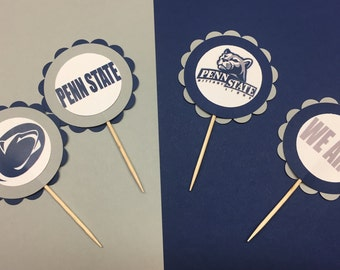 Penn State Nittany Lions Cupcake Toppers,Quantity of 12, We Are Penn State, Tailgate Party, Penn State Birthday Party