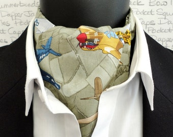 Cravat, Ascot, cravats for men, aeroplane print cravat, reversible cravat, khaki spot print cravat
