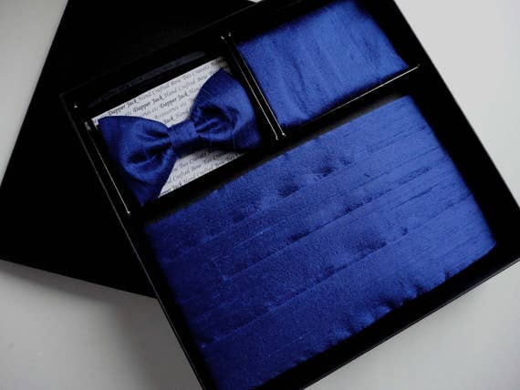 Cummerbund, bow tie and pocket square set, blue silk, pre tied or self tie bow tie