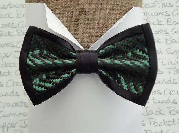 Bow ties, carbon fibre and British racing green polyester pre tied bow tie, on an adjustable band.