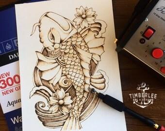 Japanese Koi - Pyrography art - Illustration - Wall Decor - Tattoo Art - Pyrografie Kunst - Paper Pyrography - OOAK - TimberleeEU