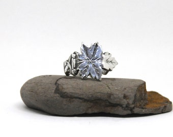 maple leaf ring, spoon ring, canada ring, silver plate ring