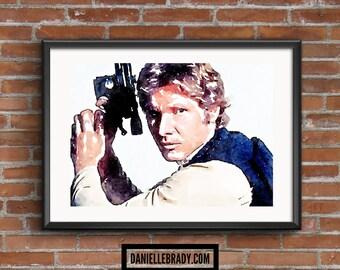 Han Solo Star Wars Digital Art Watercolour Printable Art Downloadable Print