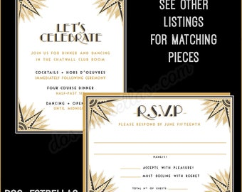 GATSBY RSVP cards and envelopes