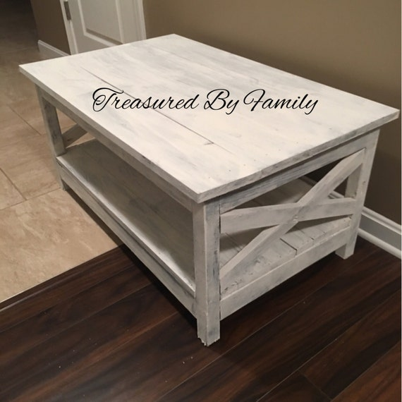 Large Distressed Wood Coffee Table: Distressed White Primtive Coffee Table