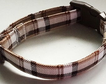 Brown & Beige Plaid Collar for Dogs and Cats
