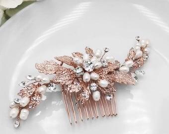 Rose Gold Swarovski Bridal Comb, Rhinestone Comb, Bridal Comb Crystal, Wedding Crystal Hair Comb, Hair Comb, Wedding Accessory, 502775077