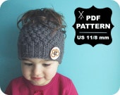 English-French Two Needle KNITTING PATTERN / Digital Download / #23 / Knitted Ponytail or Messy Bun Hat / 6-16M to Adult / US11 / 8mm