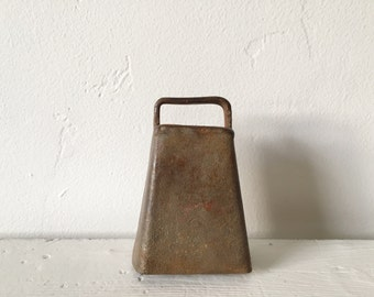 Antique Rustic Hand Made Cow Bell / Mexico / Heavy Iron