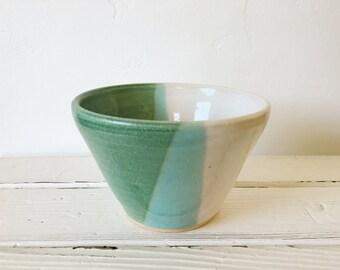 Vintage Hand Made Studio Pottery Glazed Bowl / White Blue Green