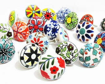 10 x Assorted Colourful Artisan Ceramic Knobs Door Knob Handle Cabinet Chest Cupboard Drawer Pull