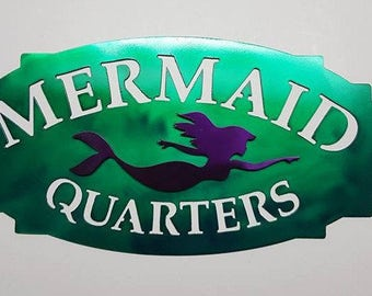 Mermaid Sign, Mermaid Quarters, Mermaid Decor,Mermaid Room Decor, Mermaid Metal Art, 3D  Metal Sign M20