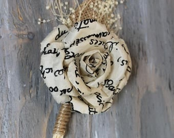 Rustic Boutonniere Paper Boutonniere Groom Boutonniere Groomsman Boutonniere Dried Flowers Mens Wedding Boutonniere  Ivory Boutonniere