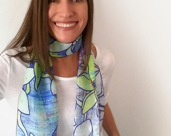 Blue and yellow floral silk scarf, light and long printed scarf with plumeria flowers, artist scarves for her, thoughtful gift for mum