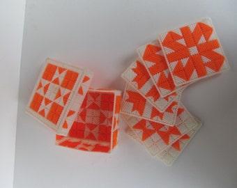 Vintage  Coasters  - Plastic  Canvas - Handmade Cross Stitch - Coaster Set -