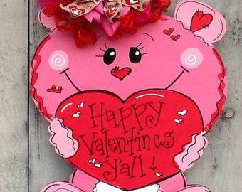 Valentines sign, valentines door hanger, valentines bear sign, bear door sign, valentines heart sign, valentines card, valentines decor
