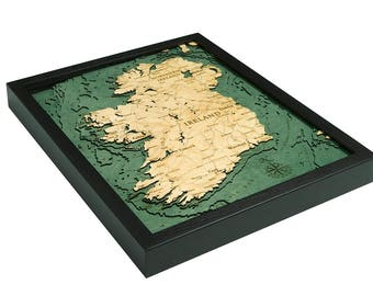 Ireland Wood Carved Topographic Depth Map