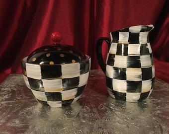 Creamer and Sugar set/black and white checkered hand painted