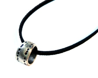 Mens Ring Necklace , Silver Ring Necklace , Mens Necklace , Mens Jewelry , Leather Necklace , Circle Necklace , Man Necklace , Mens Gift