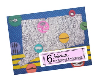 Connecticut Note Cards, Set of 6 Cards, Geography Stationery, State Map