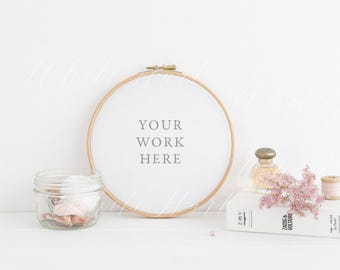 Styled stock photography - Embroidery hoop pink floral mockup - Modern and feminine - PSD Smart Object + Jpeg + Png files included.