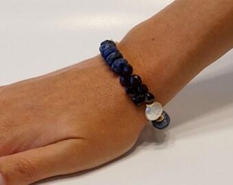 One of a kind blue lapis, garnet, pearl multi-stone bracelet