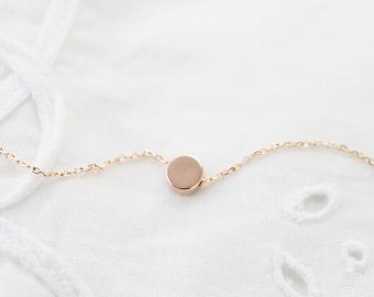 Rose Gold Tiny Dot Necklace Dainty Dot Necklace Bridesmaid Gift Bridesmaid Necklace Birthday Gift